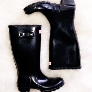HUNTER Black Refined Rubber Rain Boots